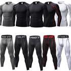 Men Compression Thermal Base Layer Tights T-shirt Top Long Pants Gym Activewear