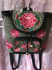 Embroidery Canvas Backpack Women Handmade Flower Embroidered Travel Bag