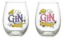 Set of 2 GIN SLOGAN Stemless Glasses Tumbler Wine Gin Gift Box Novelty