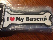 Dog Bone Shaped Magnet - I Love My Basenji - Cars, Trucks, Refrigerators