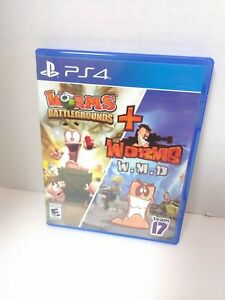 Worms Battlegrounds + Worms W.M.D. PS4 (Sony PlayStation 4, 2019) Game and Case
