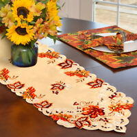 Maple Leaves Embroidered Table Runner Thanksgiving Fall Table Cover Home Decor