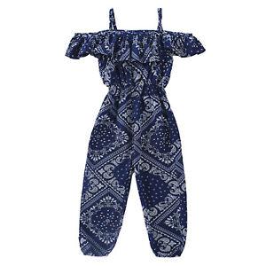 Girls Stylish Jumpsuits Off Shoulder Bodysuit Romper Kid One-piece Pants Clothes