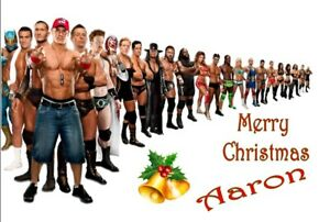 PERSONALISED WWE WRESTLING MANIA XMAS CHRISTMAS CARD A5 ANY NAME OR GREETING