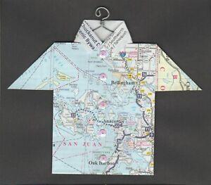 Origami Map Shirt Washington, San Juan, Bellingham, Anacortes, Oak Harbor