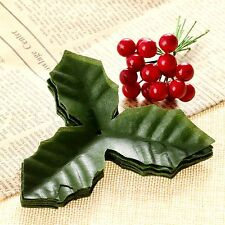 50x Dark Red Artificial Holly Berries With 50x Green Artifical Leaves Home Party