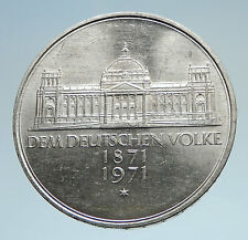 1971 GERMANY Silver 5 Mark Coin GERMAN 1871 Reichstag Building in Berlin i74980
