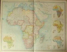 1922 LARGE ANTIQUE MAP ~ AFRICA POLITICAL ~ INSET MEAN RAINFALL POPULATION RACES