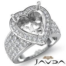 Halo Pave Setting Diamond Engagement Ring Heart Semi Mount 18k White Gold 1.5Ct