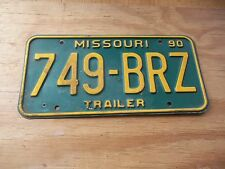 749 BRZ 1990 Trailer Missouri Green & Yellow License Plate only one