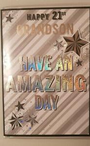 21 YEAR OLD GRANDSON BIRTHDAY CARD TOP QUALITY  21ST GRANDSON CARD 10 X 7 INCH