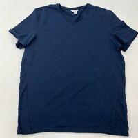 Calvin Klein T Shirt Men's Large Short Sleeve Navy V Neck Slim Fit 100% Cotton