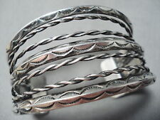 Silver Coil Bracelet Old Early 1900'S Vintage Navajo Sterling