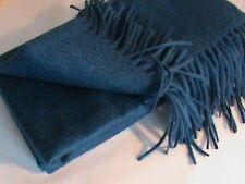 NWT 100% cashmere scarf wrap shawl pashmina waterweave blue dark peacock Talbots