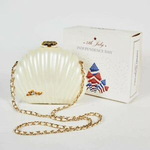 RARE CHANEL Clam Shell Bag Clutch Purse Independence day