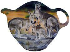1 x Australian Souvenir Tea Bag Holder Spoon Rest - Kangaroo Family