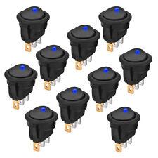 10pcs DC12V Car Mini Rocker Switch Blue LED Illuminated Boat Round Toggle MA1744