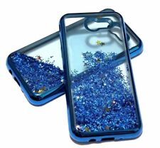 For Samsung Galaxy J3 EMERGE Blue Trim Glitter Star Liquid Water Skin Case Cover