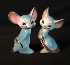 Vtg Blue Mice Anthropomorphic Salt Pepper Decorative Mid Century