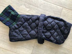 """Whippet coat, 21"""" fleece lined, Navy. With Harness Hole."""
