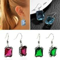 EG_ Silver Plated Big Rhinestone Inlaid Women Dangle Hook Earrings Jewelry Cheap