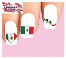 Waterslide Nail Decals Set of 20 - Mexican Mexico Flag Assorted