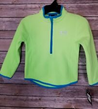 NWTs Under Armor Boys Fleece Jacket Half Zip Long Sleeve Lime/Turquoise Size 4