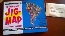 Amérique du sud Vintage Waddingtons en forme de Jig-Carte avec Nom de Lieu Quiz-COMPLET