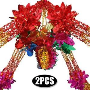 2X Large Multi Colour Christmas Foil Ceiling Garland Hanging Xmas Home Decor
