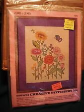 Coats & Clark Crewel Creative Stitchery Kit #5851 Floral on Aida