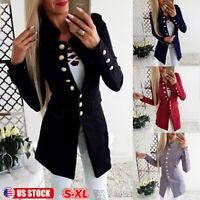 Women Slim Fit Suit Casual Button Blazer OL Outwear Long Sleeve Coat Jacket US