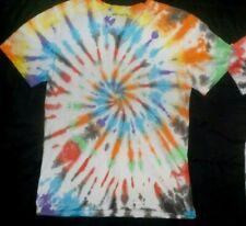 "Mens cotton Tie dye T-shirt ""Multi colour spiral"" size Medium, new"