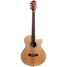 "40"" Handcrafted Steel String Dreadnought Natural Folk Acoustic Cutaway Guitar"