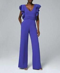 Cobalt Ruffle V-Neck Jumpsuit, Women's Size 6