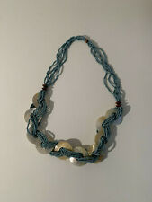 Bead Shell Wood Statement Necklace Aqua Blue