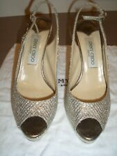 Great 100% AUTH Jimmy Choo Glitter Heel Sandals Size 38