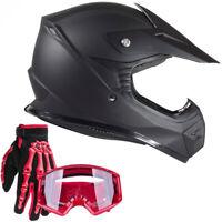 Youth Matte Black Motocross Helmet with Red ATV Goggles Kids Combo DOT UTV MX