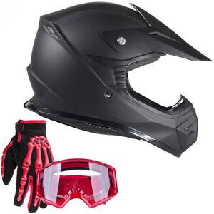 Small Typhoon Adult ATV Helmet Goggles Gloves Gear Combo Black Purple Splatter