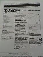Campbell Hausfeld Manual Mini Air Palm Hammer PN001000 Operating Instructions