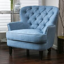 Traditional Design Light Blue Tufted Fabric Club Chair