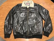 MENS LEVI'S STRAUSS BROWN SHERPA LINED FAUX LEATHER RED TAB JACKET SIZE SMALL