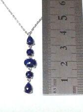 5pcs Pendant: Genuine LAPIS LAZULI dangle drop Pendant Necklace with chain