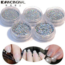 5PCS Plata Uña Purpurina Lentejuelas Mix 3D Decoración De Uñas Gel UV Manicura