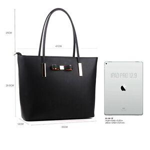 """Ladies Large Black Tote Designer Handbag Travel Shoulder School Laptop Bag 15.6"""""""