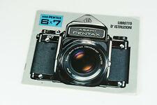 Pentax 6x7 67 manuale d'istruzioni user manual libretto Italiano ita