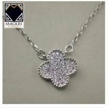 MACKRI Classic Silver Rolo Chain Necklace with Crystal Clover Pendant
