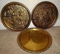Vintage Set of Three Brass Charger/Wall-Hanging Plates (2 with Embossed Couple)