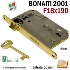 SERRATURA PORTA PATENT FRONTALE 18x190 BONAITI 2001 240 OTTONE E50 INT90 +CHIAVE