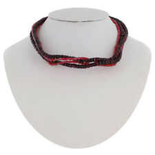 Necklace Choker Sculpture Statement Crazy Wire Beaded Wood Red Purple