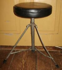 Vintage Drumcraft Round Top Drum Set Throne Stool Tripod Base Vinyl Seat Used O